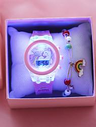 Недорогие -Дети электронные часы Классика Мода Розовый силиконовый Цифровой Розовый Секундомер Очаровательный Светодиодная лампа 1 комплект Цифровой / Фосфоресцирующий