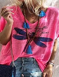 cheap -Women's Tops Animal T-shirt V Neck Daily Summer Blue Red Green Gray S M L XL 2XL 3XL 4XL 5XL