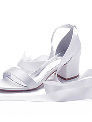 cheap -Women's Wedding Shoes Cuban Heel Open Toe Classic Sweet Minimalism Wedding Party & Evening Satin Lace-up Solid Colored Summer White Black Purple
