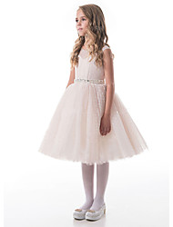 cheap -A-Line Knee Length Wedding / Party Flower Girl Dresses - Lace / Tulle Sleeveless V Neck with Appliques