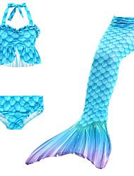 cheap -Kids Girls' Swimwear Bikini 3pcs Swimsuit Mermaid Tail Ruffle Swimwear Geometric Blue Active Cute Bathing Suits 3-10 Years