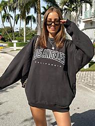 cheap -Women's Sweatshirt Letter Basic Hoodies Sweatshirts  Cotton Loose Black
