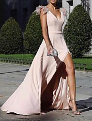 cheap -A-Line Beautiful Back Sexy Holiday Formal Evening Dress V Neck Sleeveless Sweep / Brush Train Chiffon with Split 2021