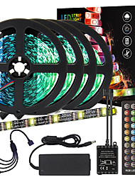cheap -20M(4x5M) High-Quality Black PCB Music Timing Synchronous Control Flexible Light Bar 5050 RGB  IR 40 Key Controller with12V 8A Adapter Kit