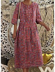 cheap -Women's Sheath Dress Midi Dress - Half Sleeve Floral Summer Elegant 2020 Red Green M L XL XXL