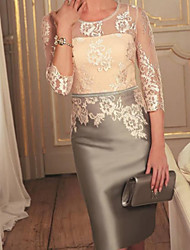 cheap -Sheath / Column Mother of the Bride Dress Elegant Jewel Neck Knee Length Lace Satin 3/4 Length Sleeve with Embroidery 2020 / Illusion Sleeve
