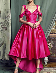 cheap -A-Line Elegant Minimalist Wedding Guest Prom Dress Sweetheart Neckline Sleeveless Asymmetrical Satin with Pleats 2020