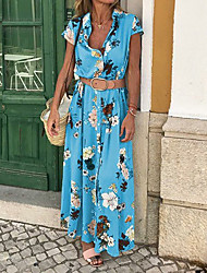 cheap -Women's Maxi Sheath Dress - Sleeveless Floral Print Print Spring & Summer Deep V Casual Holiday Vacation Slim Boho / Beach Blue Purple Yellow S M L XL XXL / Cotton