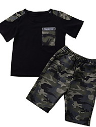 cheap -Baby Boys' Basic Print Short Sleeve Regular Clothing Set Black