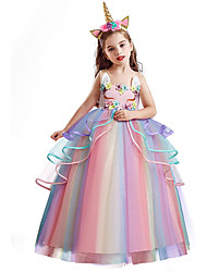 cheap -Princess Unicorn Dress Flower Girl Dress Girls' Movie Cosplay A-Line Slip Vacation Dress White / Purple / Pink Dress Children's Day Masquerade Tulle Polyester