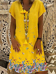 cheap -Women's A-Line Dress Knee Length Dress - Short Sleeves Floral Summer V Neck Casual Boho Vacation 2020 White Black Yellow Khaki Light Blue S M L XL XXL XXXL XXXXL XXXXXL