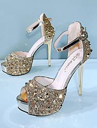 cheap -Women's Heels / Sandals Summer Stiletto Heel Peep Toe Daily Party & Evening PU Gold / Silver