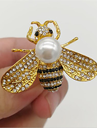 cheap -Cubic Zirconia Brooches Classic Bee Fashion Imitation Pearl Brooch Jewelry White Yellow Gray For Gift Festival
