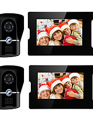 cheap -Wired 7 Inch Hands-free 800*480 Pixel Video Doorphone 2 Camera 2 Monitor Video intercom with Unlock function