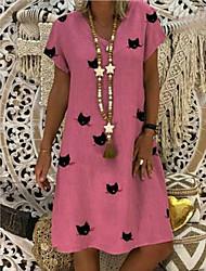 cheap -Women's A-Line Dress Knee Length Dress - Short Sleeve Animal Summer V Neck Casual Mumu 2020 Yellow Blushing Pink Khaki Green Light Blue S M L XL XXL 3XL 4XL 5XL