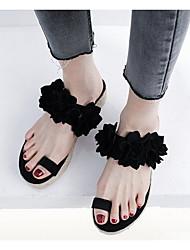 cheap -Women's Sandals Summer / Fall Flat Heel Open Toe Sweet Daily Home Flower Faux Leather Black / Red / Light Purple