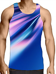 cheap -Men's Graphic optical illusion Tank Top Print Sleeveless Daily Tops Round Neck Blue