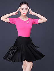 cheap -Latin Salsa Dance Skirts Tassel Crystals / Rhinestones Women's Training Performance Short Sleeve Natural Polyester