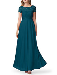 cheap -A-Line Jewel Neck Floor Length Chiffon Bridesmaid Dress with Pleats / Pattern / Print