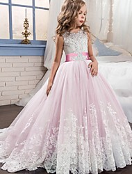 cheap -Princess / Ball Gown Court Train Wedding / Party Flower Girl Dresses - Tulle Sleeveless Jewel Neck with Bow(s) / Beading / Appliques