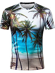 cheap -Men's T shirt Graphic Scenery Print Short Sleeve Daily Tops Blue
