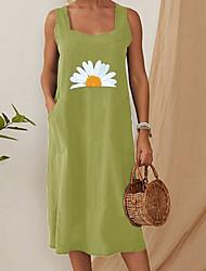 cheap -Women's A-Line Dress Knee Length Dress - Sleeveless Print Summer Casual 2020 Green S M L XL XXL XXXL