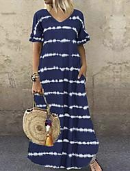 cheap -Women's Shift Dress Maxi long Dress Black Purple Wine Dusty Blue Brown Navy Blue Gray Short Sleeve Striped Summer V Neck Hot Casual 2021 S M L XL XXL 3XL 4XL