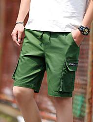 cheap -Men's Basic Daily Holiday Shorts Tactical Cargo Pants - Solid Colored Letter Drawstring Breathable Black Army Green US34 / UK34 / EU42 / US36 / UK36 / EU44 / US38 / UK38 / EU46