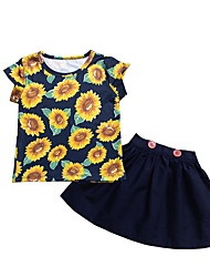 cheap -Baby Girls' Basic Floral Sleeveless Regular Clothing Set Navy Blue