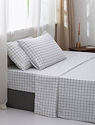 cheap -4 Piece Bedding Sheets With Floral or Grid Design- Deep Pocket -Warm-Super Soft-Breathable & Moisture Wicking Bed Sheets Set Include 1 Flat Sheet 1 Fitted Sheet & 1 or 2 Pillowcases
