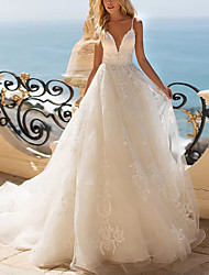 cheap -Ball Gown Wedding Dresses V Neck Sweep / Brush Train Lace Tulle Sleeveless Beach with Appliques 2020