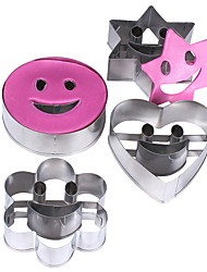 cheap -Set of 4 Baking Tool Star Heart Flower Round Smiley Set Cookie Cutter Stainless Steel