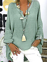 cheap -Women's Plus Size Solid Colored Loose Blouse Causal V Neck White / Black / Blushing Pink / Green / Light Green / Light Blue