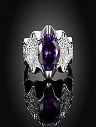 cheap -Women's Ring 1pc Silver Copper Imitation Diamond Round Stylish Gift Festival Jewelry Classic Flower