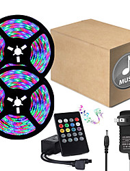 cheap -32.8ft  2 x 5 Meter Music Synchronous Happy Multicolour Light Strip 2835 RGB LED Flexible Light Strip with 20 key IR Controller Optional with Adapter Kit DC12V