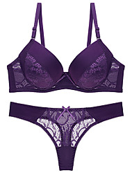 cheap -Women's Push-up Lace Bras Underwire Bra 3/4 Cup Bra & Panty Set Black Blue Purple