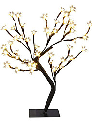 cheap -1X DC5V USB Power 24Leds Table Lamp Copper Wire Christmas Cherry Blossoms Tree Night Light Warm White Table Lamp Home Desktop Home Indoor Decoration Lighting