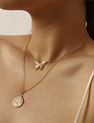 cheap -Women's Pendant Necklace Butterfly Punk Fashion Chrome Iron Gold 39 cm Necklace Jewelry For Party Evening Street
