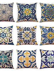 cheap -9 pcs Linen Pillow Cover, Geometric Pattern Printing Simple Casual Square Traditional Classic