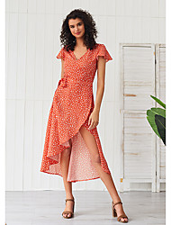 cheap -Women's Swing Dress Maxi long Dress - Short Sleeves Polka Dot Solid Color Ruffle Split Summer Elegant Holiday Going out 2020 Red XS S M L XL