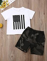 Недорогие -малыш Мальчики Классический Флаг С короткими рукавами Обычный Набор одежды Белый
