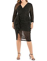 cheap -Women's A-Line Dress Knee Length Dress - Long Sleeve Solid Color Summer Casual Sexy 2020 Black XL XXL XXXL XXXXL XXXXXL
