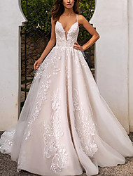 cheap -Ball Gown Wedding Dresses V Neck Chapel Train Lace Tulle Sleeveless Formal with Appliques 2020
