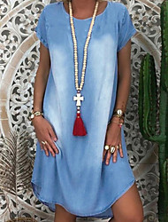 cheap -Women's Denim Dress Knee Length Dress - Short Sleeves Summer Casual Loose 2020 Black Blue Gray Light Blue S M L XL XXL XXXL