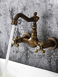 cheap -1279 Sprinkle® Sink Faucets - Antique / Art Deco / Retro / Traditional Antique Brass Wall Mount Two Holes