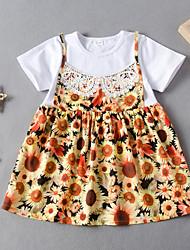 cheap -Kids Girls' Flower Active Sun Flower Floral Patchwork Short Sleeve Knee-length Dress White