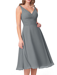 cheap -A-Line V Neck Knee Length Chiffon Bridesmaid Dress with Ruching