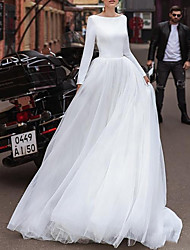 cheap -A-Line Wedding Dresses Jewel Neck Sweep / Brush Train Satin Tulle Long Sleeve Simple with 2020