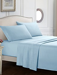 cheap -4 Piece Solid Color Bedding Sheets-Deep Pocket Warm-Super Soft-Breathable & Moisture Wicking Bed Sheets Set Include 1 Flat Sheet 1 Fitted Sheet & 1 or 2 Pillowcases
