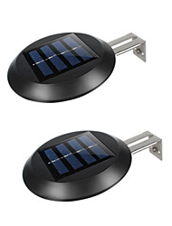 cheap -2pcs 9 LEDs Yard Solar Powered Pathway Fence Home Gutter Grille Light Outdoor Garden Night Waterproof Wall Mount Sink Round